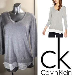 (CALVIN KLEIN) Sparkly Grey Long Sleeve Blouse